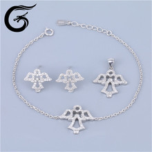 Guolong silver jewelry set angel statue fashion jewelry hong kong