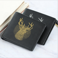 Men's Gold Print Deer Head Bifold Leather  Blocking Large Card Wallet