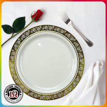 Diposable Plastic 9'' Round Plate With Silver Coated