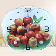 Apple shape plastic wall clock for decorative