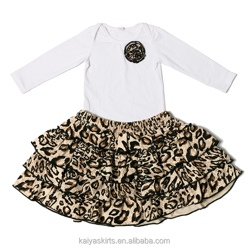 Fall stylish patterned boutique 2 pcs cotton baby girl white t shirt and skirt