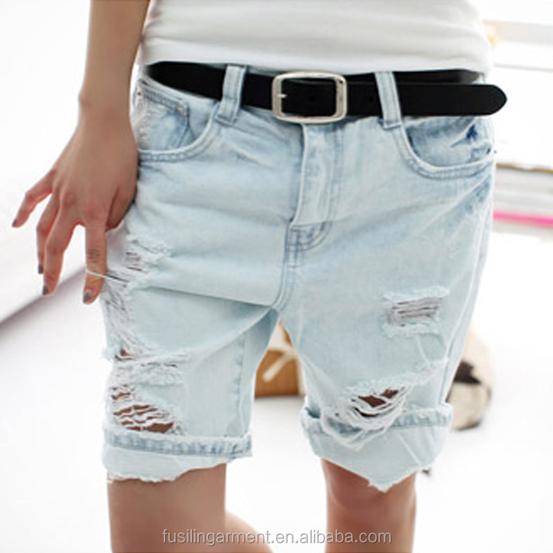 Fashion Dog Embroidery Pocket Ladies Jeans Vintage Trousers Women Hole Denim Short Pants S/M/L/XL