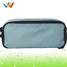 Blue polyester Cosmetic Pouch with mesh pocket