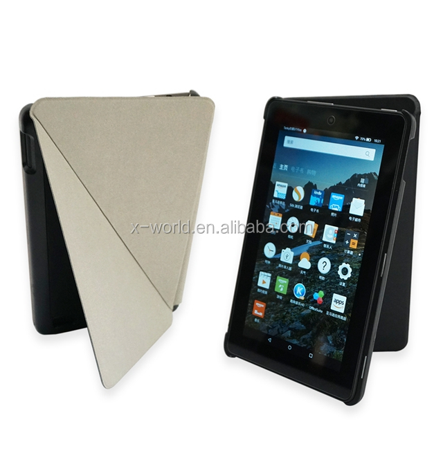 flip stand PU leather case for kindle fire 7, OEM design unique leather cases