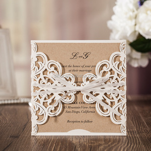 White Luxury Personalized Unique Laser Cut Wedding Invitation Card