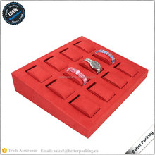 high quality 12pcs red velvet cover wooden jewelry watch display tray wholesale