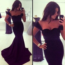 Walson 61001-57 s,m,l girl outlet 2015 Deep V-neck Long Mermaid Bateau Cotton Prom Dress F fashion Supplie instyles