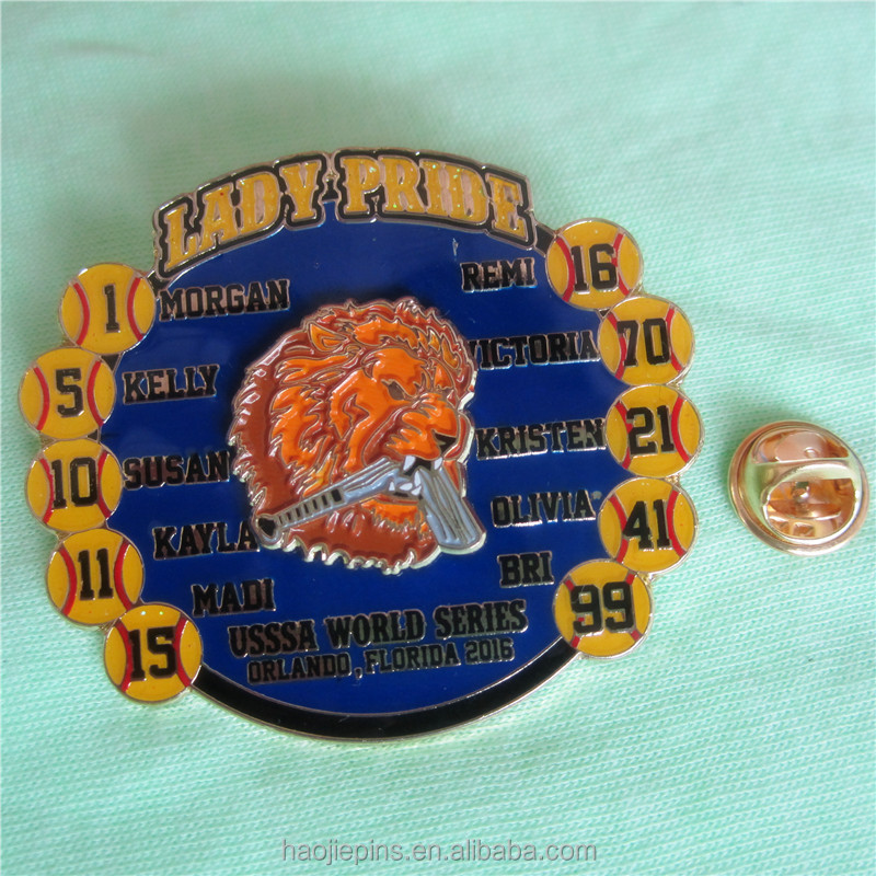 Lady Pride Gold Metal Lion Baseball Pin