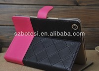 Factory !! New leather portfolio case PU leather case ,flip wallet style leather case cover for ipad mini