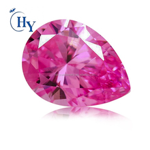 Loose cz gems 6x8 mm pink color pear cubic zirconia stone