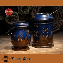 Blue color glazed antique ceramic lanterns with hanger for home decoration