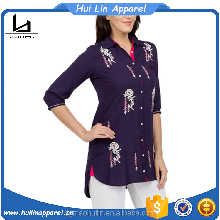 vintage clothing bulk wholesale long sleeve loose fit custom floral print high low hem tunic tops