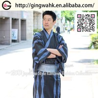 Japanese high quality Uniform Kimono Yukata black grey blue wave cotton boxing robe hotel school uniform design