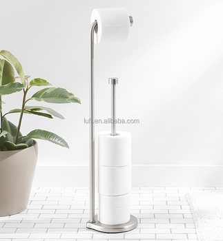 Free Standing Stainless Steel Toilet Paper Holder Stand with Reserve - Brushed Nickel Finish with Weighted Base