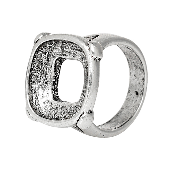 Unadjustable Rings Square Antique Silver Cabochon Settings 19.5mm Ring Setting