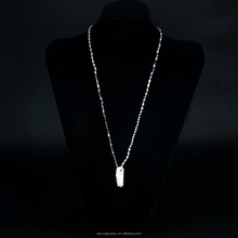 Fashion European New Designs Glass Beads Necklace Spike Shaped Stone Long Necklace
