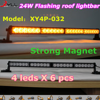 24W led flashing roof light of off road, amber strobe light bar with strong magnet DC12V