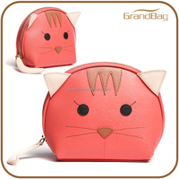 China Supplier Hot selling genuine cow leather different shape animal totoro coin purse for women cat cute round coin wallet