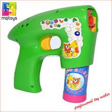 Battery operated blowing bubble gun toy with light