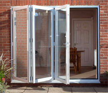 PVC double glass exterior plastic bifold door