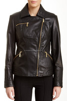 moto quilting and patchwork leather jacket women