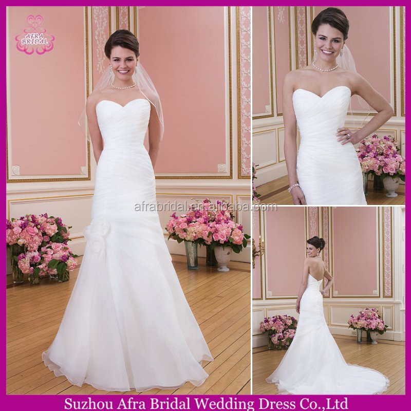 SD2251 sweetheart organza white sexy mermaid wedding dress japanese style wedding dresses