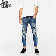 New style jeans pent men damaged ripped denim man top quality street wear