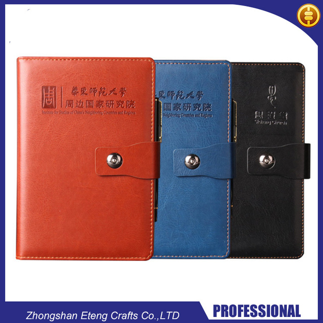 2017 Custom printed A5 Luxury Leather hardbound cover diary Notebook with Botton closure