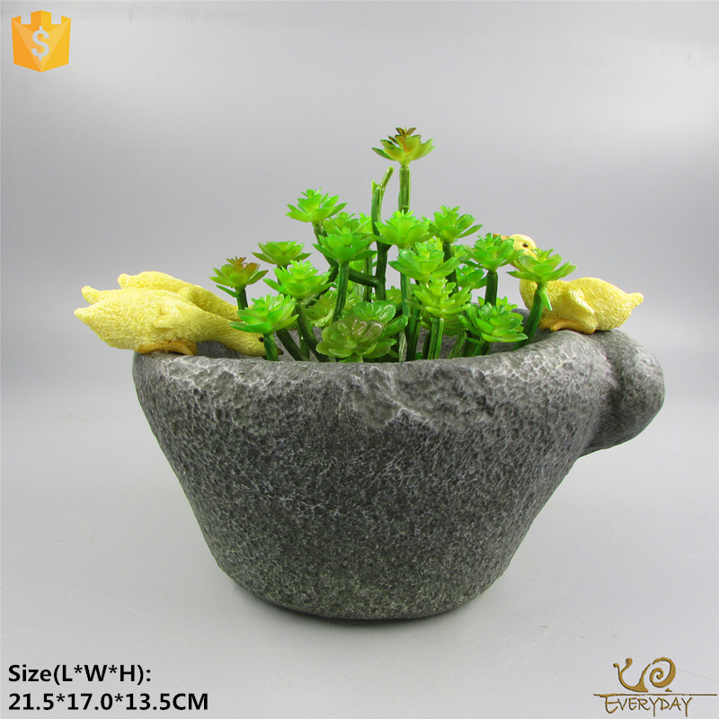 Cheap Home Decor Resin Handmade Duck Flower Small Pots Plant Indoor Planter Plant Pot