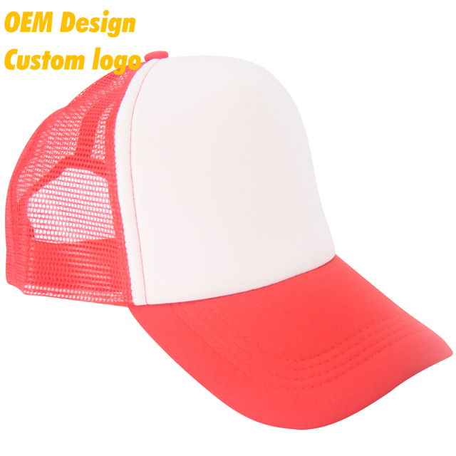 Custom Color Good Quality Polyester Metal Buckle short visor six panel Logo Printed Red Hip-Hop Net hat for high school