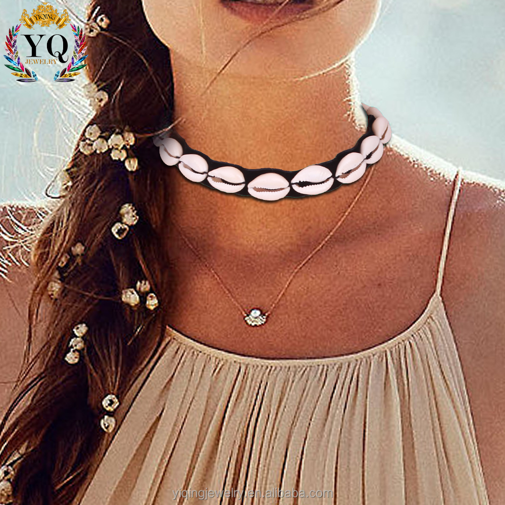 NYQ-00899 2017 cowrie shell choker black velvet lariat choker necklace for women