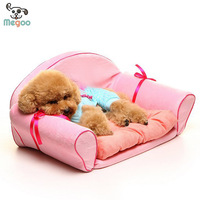 Luxury Pink Dog Sofa Bed Sponge Padded High Back Pet Couch Bed With Removable Cover