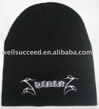 acrylic Beanie with embroidered lgo,embroidered winter beanie hat