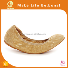 New Design Women Ballerina Shoes Gold with Expandable Carrying Case
