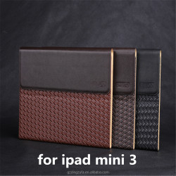 Free Sample Business Hand-made Woven Pattern PU Leather Case For Ipad Mini 3