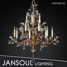 16 lights antique bronze crystal chandelier for home deco