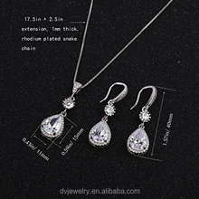 Elegant Jewelry Set for Wedding - Teardrop Silver Cubic Zircon Crystal Rhinestone Drop Earrings and Necklace Bridal Jewelry Set