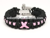 2013 fashion breast cancer awareness pink ribbon paracord bracelet