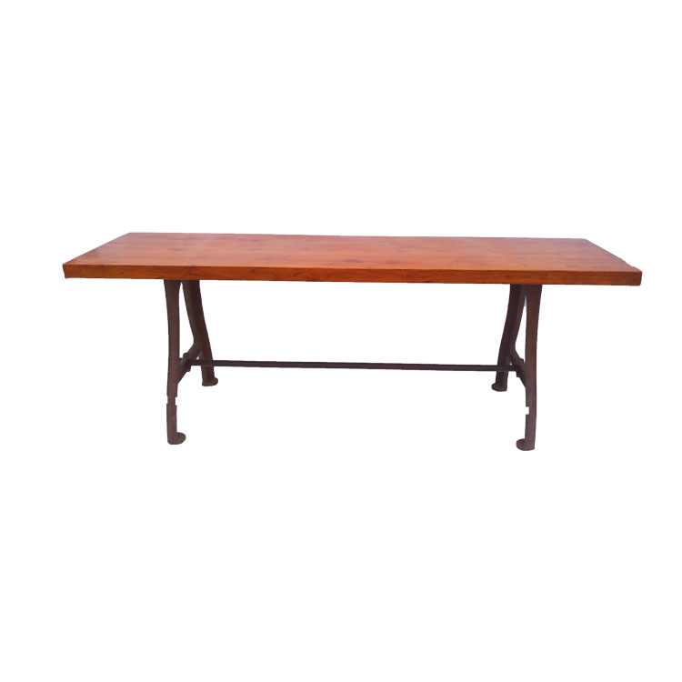 High Quality dining table Cast Iron Industrial Table with Wooden top