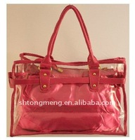 Clear Handbag with Removable Satin Insert&clear PVC tote bag(TM-PVC-003 2)