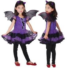 Hot Sale Sexy Halloween Purple Witch Bat Skirt/Sexy Witch Kids Costume for Cosplay Carnival Party