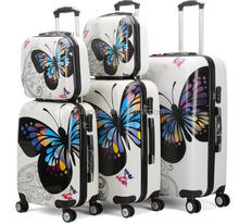 3 pc set TSA Lock 4 wheel ABS PC hardside butterfly printed on suitcase