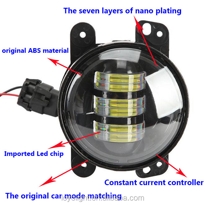 "High qulity 30W round 4"" 4 inch led fog light for Jeep"