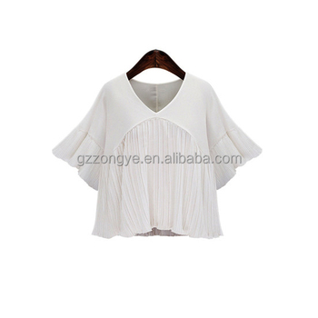 Customize pure white elegant princess clothing girl ruffle chiffon blouse designs