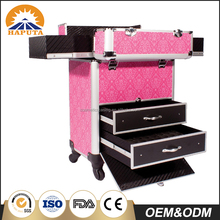 Professional Fashion pink Nail Artist Cosmetic Makeup Trolley Case with drawer