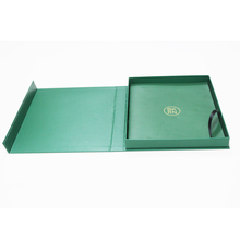 Eco friendly logo gold foil and embossed paper gift box folded with magnetic flap