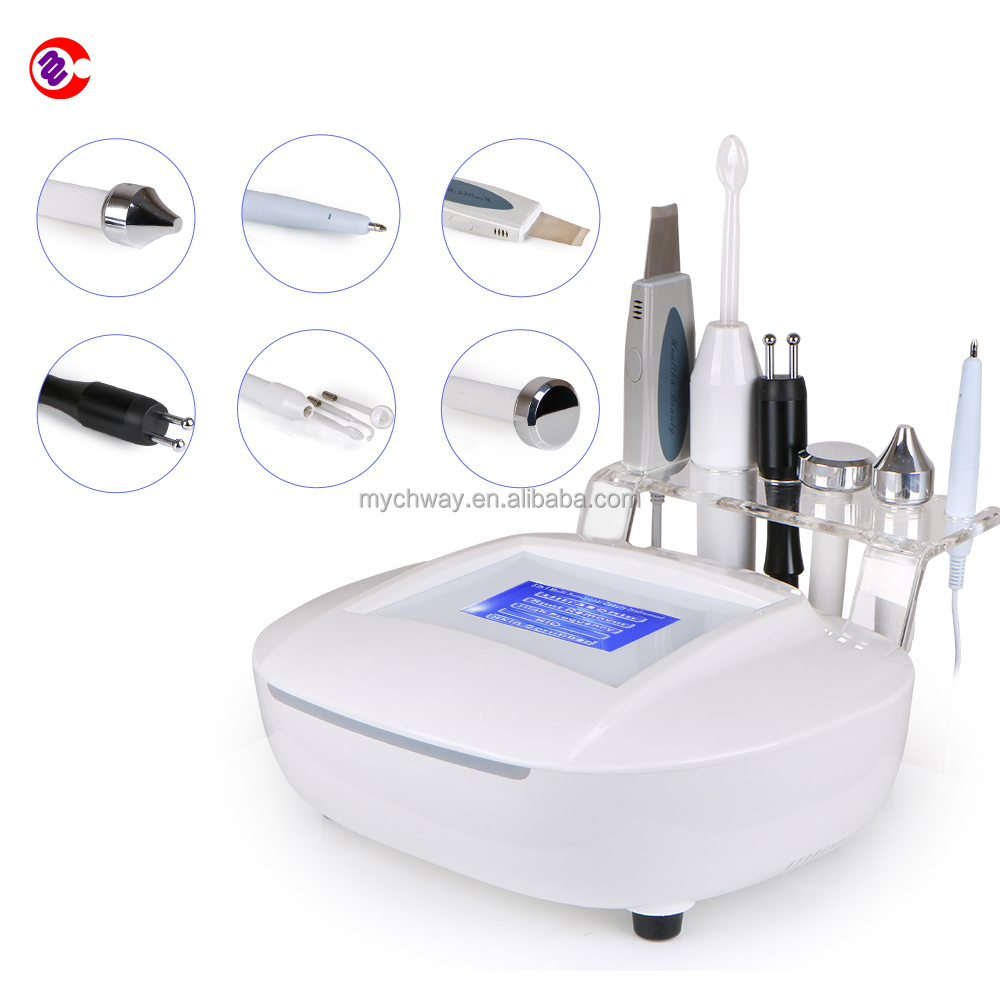 5in1 Ultrasonic+scrubber + high frequency+mole removal+ microcurrent facial machine