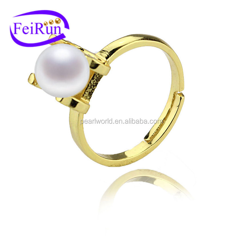 FEIRUN real 925silver freshwater pearl jewelry ring, pearl jewelry ring, pearl ring designs