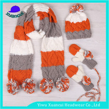 New style fashion design knitted hat wholesale crochet scarf gloves beanie set with ball