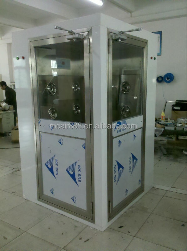 Staniless steel air shower with automatic door for clean room
